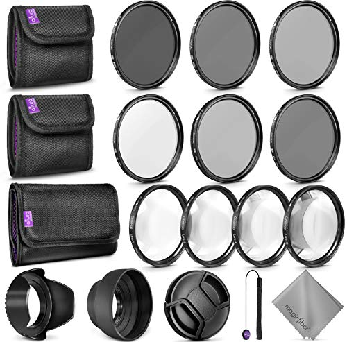 67MM Complete Lens Filter Accessory Kit for Camera Lenses: Includes Altura Photo UV CPL ND4 Filter Kit, Macro Close Up Kit and Neutral Density Filter Set from Goja