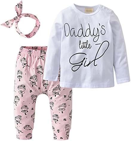 Derouetkia Newborn Baby Girls 3Pcs Outfit Set Letters Daddy Little Girl T-Shirt Tops Cartoon Pants With Headband (60(0-6 Months))