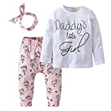 #9: Derouetkia Newborn Baby Girls 3Pcs Outfit Set Letters Daddy Little Girl T-shirt Tops Cartoon Pants with Headband