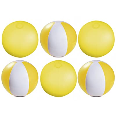 "eBuyGB Pack of 6 Inflatable Colour Beach Ball 22 cm/9"" - Beach Pool Game (Yellow)"