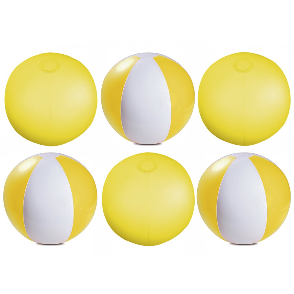 eBuyGB Pack of 6 Inflatable Colour Beach Ball 22 cm / 9'' - Beach Pool Game (Transparent Yellow)