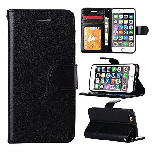 iPhone 5s Case, iPhone 5 Case,Joopapa iPhone 5s/5 Wallet Case, Luxury Fashion Pu Leather Magnet Wallet Flip Case Cover with Built-in Credit Card/ID Card Slots for 5s 5G 5 (Black)
