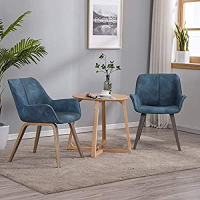 YEEFY Dark Wood Leather Dining Chairs Modern Dining Room Chairs
