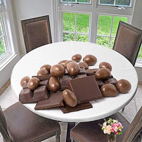 PINAFORE HOME Simple Modern Round Table Cloth Stack of Chocolate in Shape for Daily use, Wedding, Restaurant 31.5