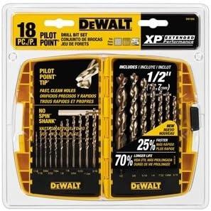 DEWALT DW1958 Bit Drill Set Gold Ferous 18Pc