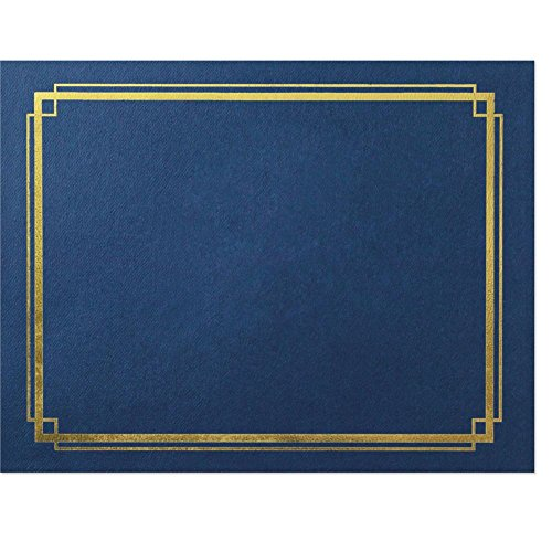 Blue Border Gold Foil Certificate Jackets, 10 count Card Blue Jackets