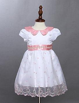 ZH de niña vestido blanco, diseño de flores, algodón verano, color blanco, tamaño 80: Amazon.es: Deportes y aire libre