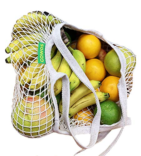 GOWOS Reusable Net Grocery/Shopping Bags WITH Long Handle - 2Pcs Mesh Produce Bag For Beach, Fruits, Vegetable, Toys - Portable/Washable Cotton Net String Tote - Light Weight/Collapsible ECO- Bags