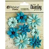 Petaloo 0.75-Inch by 1.5-Inch Darjeeling Teastained Mix Flowers, Mini, Teal, 8-Pack