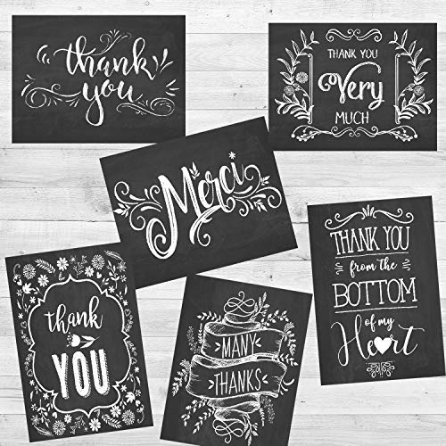 Retro Chalkboard Thank You Cards 36 Pack, Thank You Notes for Wedding, Baby Shower, Graduation, Work Anniversary, Teacher and Employee Appreciation, 6 Vintage Rustic Style, Include Envelopes & ()
