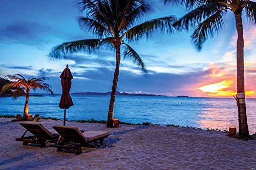 Twilight sunset at the beach wall decoration - Mural Sandy Beach Motiv XXL wallpaper by GREAT ART (55 Inch x 39.4 Inch/140 cm x 100 cm)