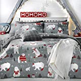 Bedlam Christmas - Polar Bears - Easy Care Duvet Cover Set | Double Bed Size | Silver Bedding