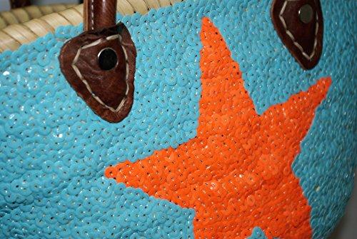 Capazo Bolso Pequeño Lentejuelas Palma Celeste Estrella Naranja