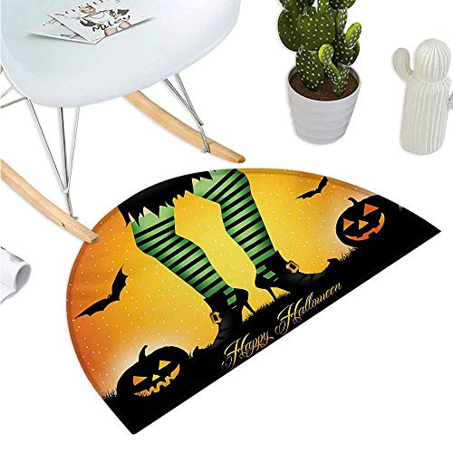 - Halloween Semicircular Cushion Cartoon Witch Legs with Striped Leggings Western Concept Bats and Pumpkins Print Bathroom Mat H 27.5