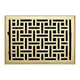 Naiture 8'' x 12'' Oversized Solid Brass Wall Register Wicker Style Polished Brass Finish