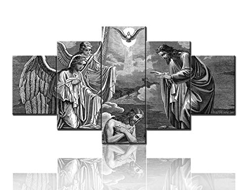 TUMOVO Baptism of Jesus Pictues for Living Room Black and White Wall Art Fine Art Paintings Jesus Christ Canvas 5 Panel/Set Artwork Home Decorations Giclee Framed Stretched Ready to Hang(60''Wx32''H)