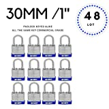 Lot of 48 Laminated Steel Padlocks 30 mm or 1.3/16'' Keyed Alike, Hardened Steel Shackle (48)