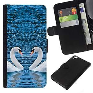 All Phone Most Case / Oferta Especial Cáscara Funda de cuero Monedero Cubierta de proteccion Caso / Wallet Case for HTC Desire 820 // PICTURESQUE TWO SWANS HEART