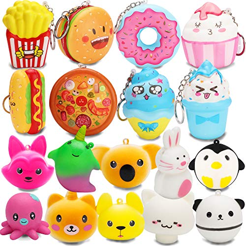 R.HORSE Cute Kawaii Squishy Toys Animal Squishy Set, Cute Food Squishy Set, White Mushroom Squishy Slow Rising Cream Scented Stress Relief Squeeze Toys(18 Pack)