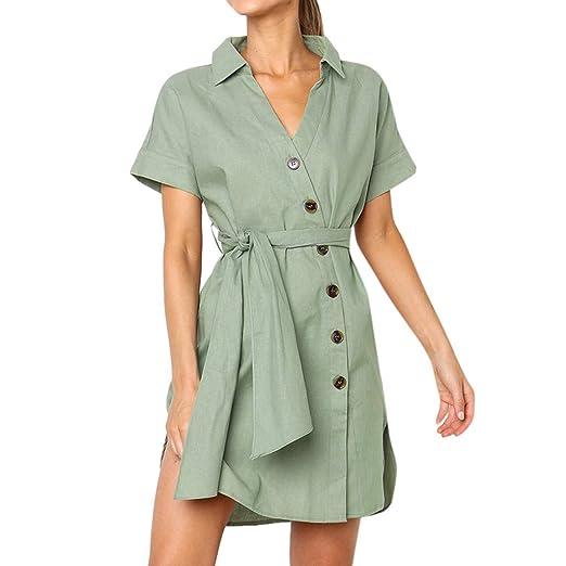9911291feb23 Gooldu T Shirt Dresses,Women Casual Buttons Short Sleeve V-Neck Dress Lace  Up