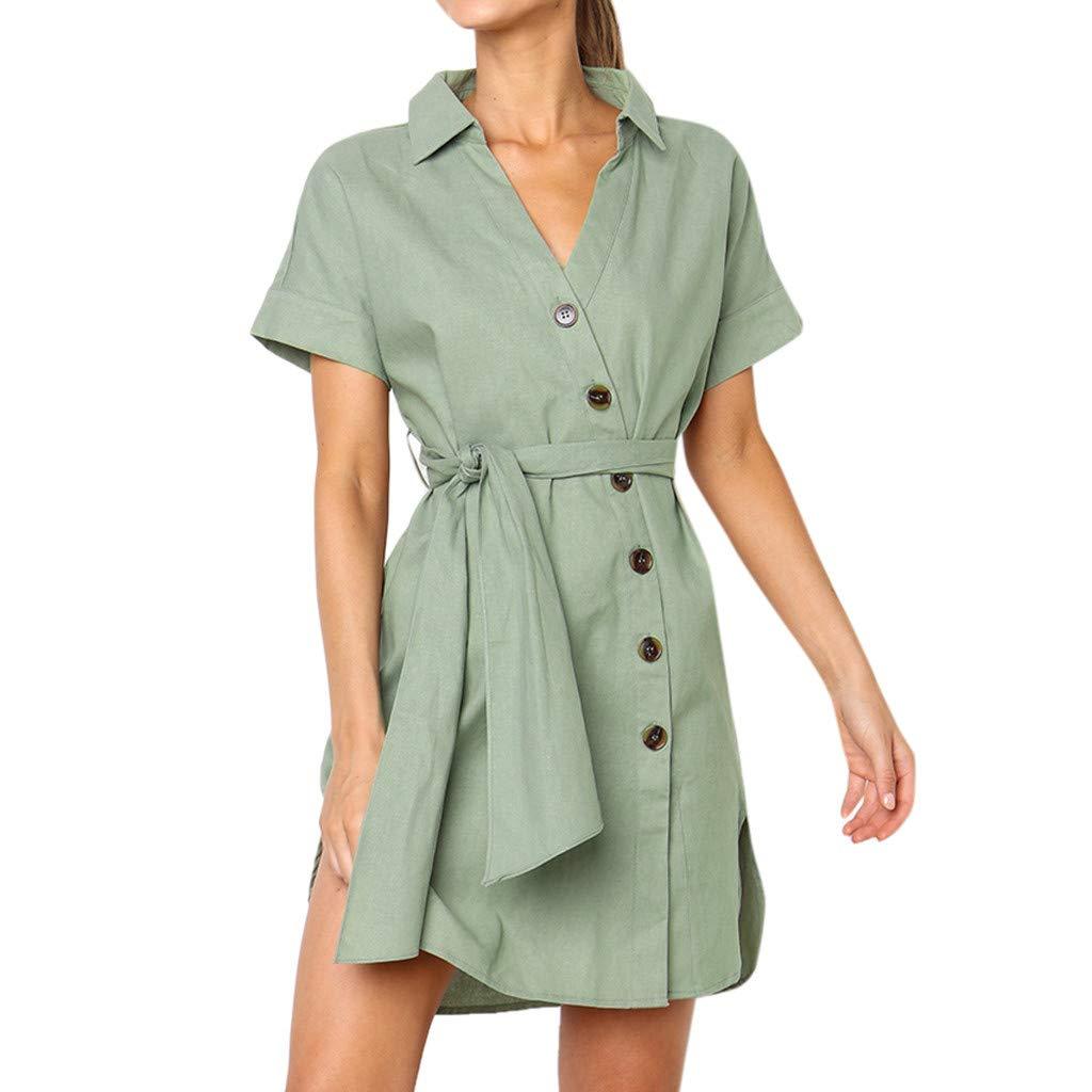 Womens Sexy Solid Summer Button up Sleeveless V Neck Short Ruffle Mini Dress Sundress Princess Dress(Green,L2)