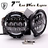 Brightest Driving Lights 105W 2Pcs 7 Inch Round LED High/Low Beam Work Light Off Road Driving Light Waterproof for Offroader, Truck, Car, ATV, SUV, Jeep, Construction, Camping, Hunters