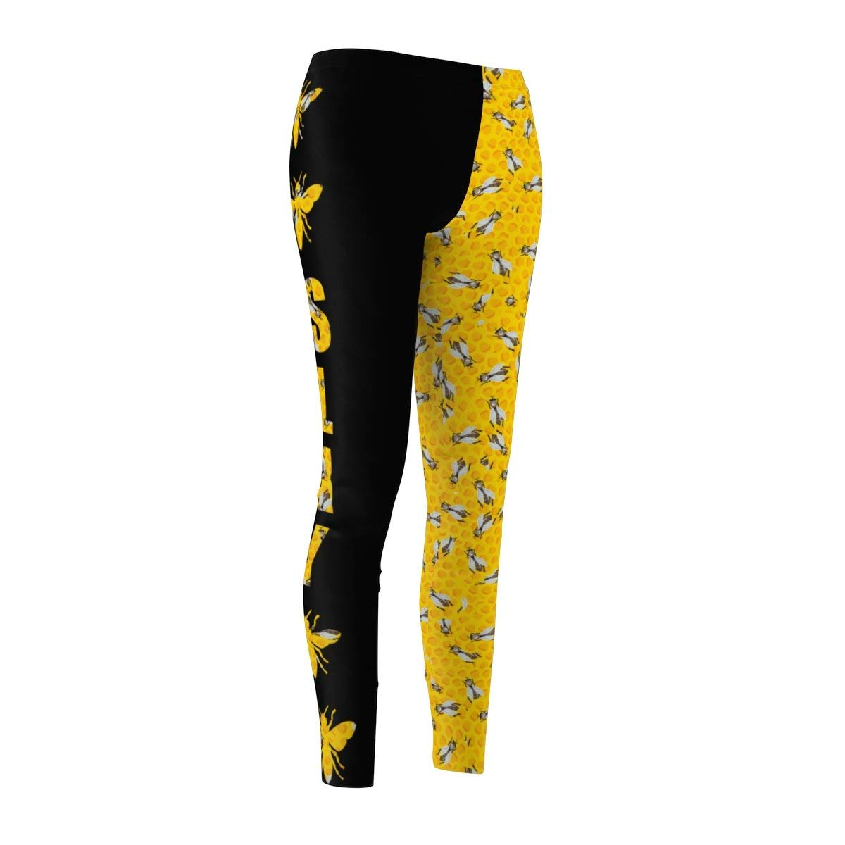 Fine Vintage Life Bey Hive Honey Comb Slay ONTRII Women's All Over Leggings - Two Tone Black by Fine Vintage Life (Image #3)