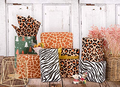 Whaline Animal Skin Print Tissue Paper 90 Sheet Leopard Zebra Giraffe Print Tissue Paper 3 Styles Patterned Wrapping Paper Gift Tissue Paper Assortment for Birthday Holiday Kids Gift Bags, 14 x 20""