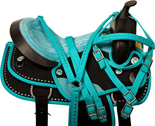 WESTERN CORDURA TURQUOISE PLEASURE TRAIL ALL PURPOSE SHOW HORSE SADDLE TACK PACKAGE (16)