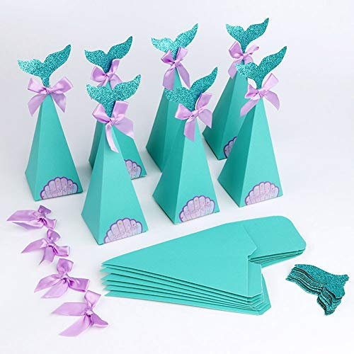 ChezMax 50pcs Mermaid Favor Boxes Turquoise Cute Candy Box Gift Bags Party Supplies Baby Show Birthday -