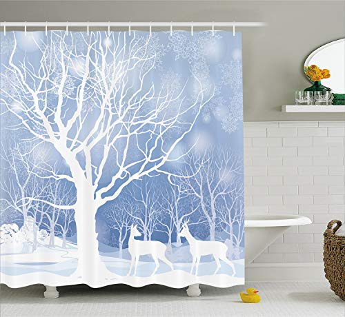 Ambesonne Winter Decorations Shower Curtain by, Silhouettes of Deer in Snowy Forest with Blizzards Surreal Dreamy Theme, Fabric Bathroom Decor Set with Hooks, 70 Inches, Blue White -