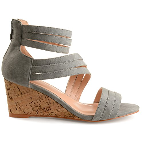 Brinley Co Kvinners Lacey Strappy Faux Skinn Faux Kork Wedges Grå