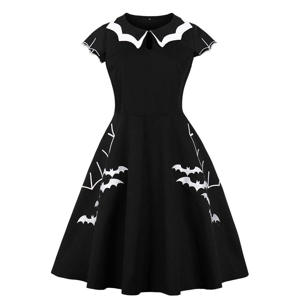 NREALY Womens Halloween Retro Dress Elegant Printed Bat Vintage Evening Party Dresses at Amazon Womens Clothing store: