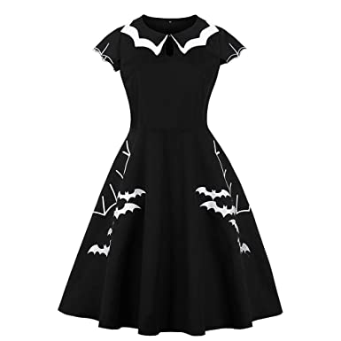 NREALY Womens Halloween Retro Dress Elegant Printed Bat Vintage Evening Party Dresses(XL, Black
