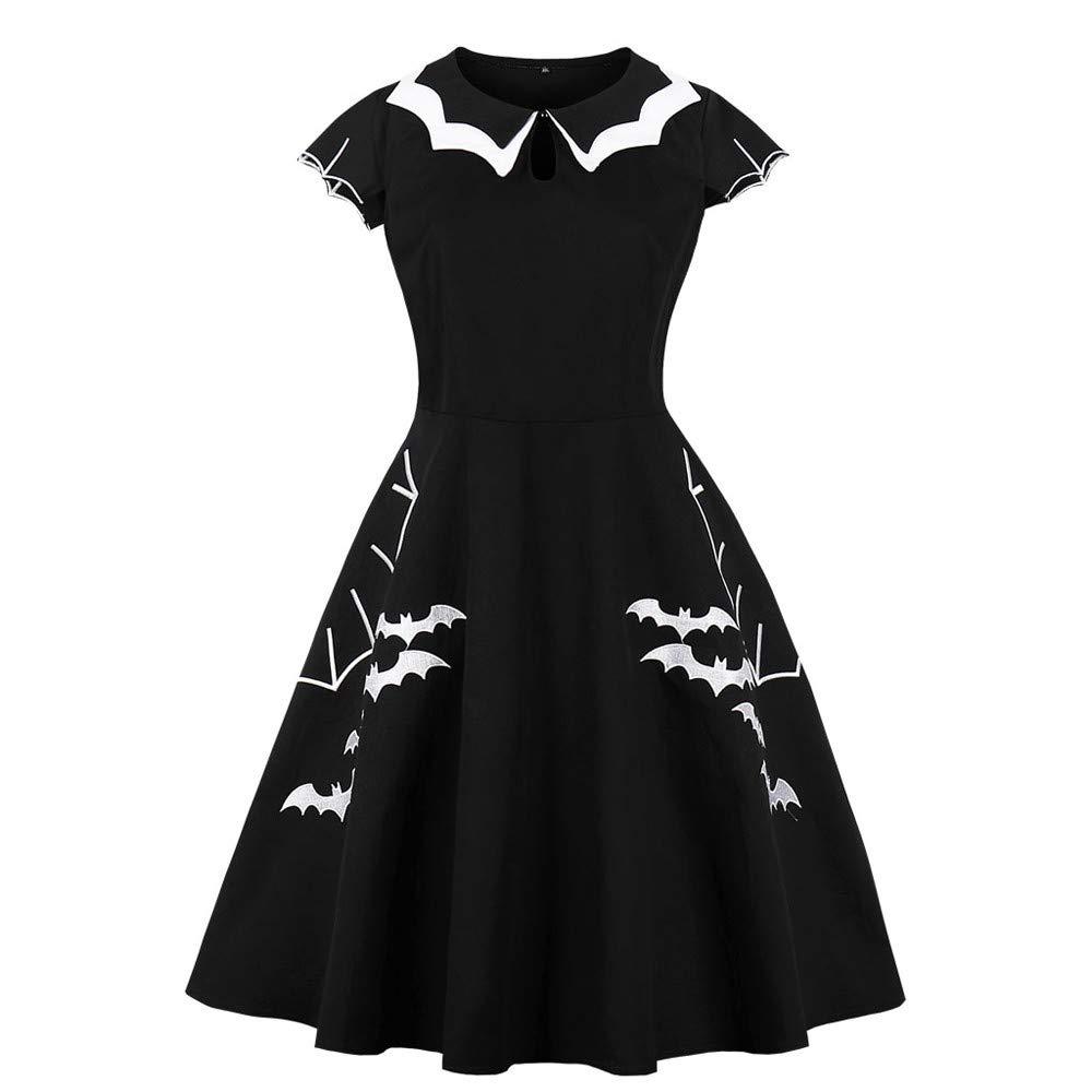 TOOPOOT Halloween DressesCasual Short Sleeve Doll Collar Dress Printed Bat Vintage Evening Party Collar Work Office Dress