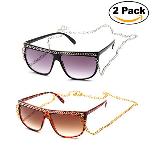 Newbee Fashion- Women Flat Top Oversized Retro Chain Sunglasses with Metal Chain on Top & Around Neck ( Dark & Neon Color to Choose - Sunglasses Chain