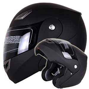 Matte Black Modular Flip up Helmet DOT #936 (Medium) - Comes with FREE TINTED SHIELD