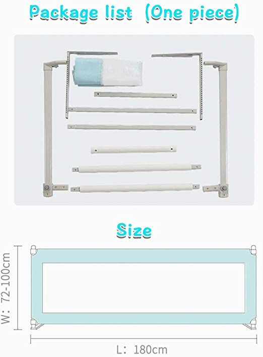 Bed Rail for Toddler Infants,1.8m Fold Down No Gap Safety Guard and Vertical Liftable Extra Long Bedrail for Kids Twin Full Size Queen /& King Mattress blue Double 70.8 inch,1 pack