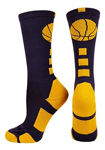 Gold Basketball (Basketball Logo Crew Socks (Navy/Gold, Medium))
