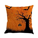 Happy Halloween Pillow Cases,Napoo 2017 Printed Flax Square Funny Pumpkin Castle Bat Owl Pattern Pillow Shams Sofa Throw Cushion Pillow Cover Cases 18x18 (D)