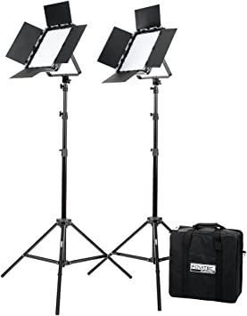 Portable 600 LED Bi-Color Panel for Video and Photo with Barndoors DMX and Case Fovitec V-Lock Mount