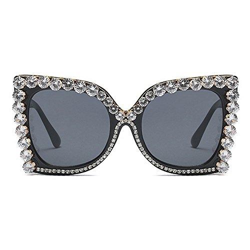 sol Gafas Gafas de gran para de de de de novedad sol de del de La protección las lujo color conducción de tamaño Rhinestone Gafas UV d de El diseñador sol mujeres Lady negro de de personalidad cristal pxavqX