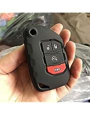 Fricgore - Funda protectora para llave de coche para Jeep Wrangler JL Flip Remote sin llave 2018 2019 cubierta de silicona de goma protegida, juego de funda y llavero