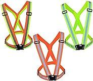 baotongle 3pcs Reflective Vest Adjustable Safety Vest High Visibility Vest Straps Lightweight Reflector Safety