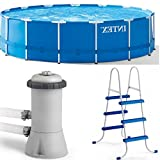 Metal Frame Swimming Pool for Kids and Adults Set with Accessories Equipment Filter Pump and Ladder Outdoor Above Ground Blue Large Round Swimming Pool for Garden eBook by Easy&FunDeals