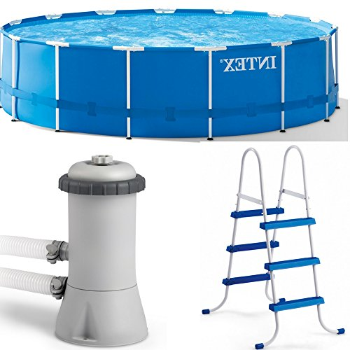 Metal Frame Swimming Pool for Kids and Adults Set with Accessories Equipment Filter Pump and Ladder Outdoor Above Ground Blue Large Round Swimming Pool for Garden eBook by Easy&FunDeals by EFD