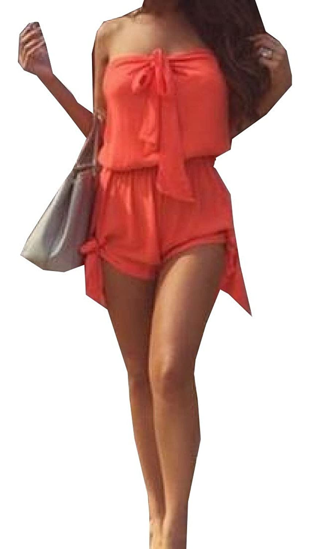 XTX Womens Girls Solid Color Fashion Elegant Comfy Playsuit