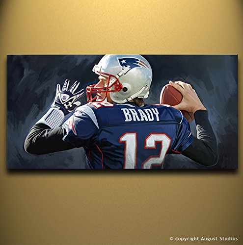 "TOM BRADY New England Patriots NFL Football Quarterback Original Mixed Media Painting Artist Signed Canvas Art Print # 1 (Large 36"" x 18"")"