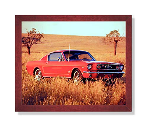 1965 Red Ford Mustang Fastback Car Picture Framed Art Print