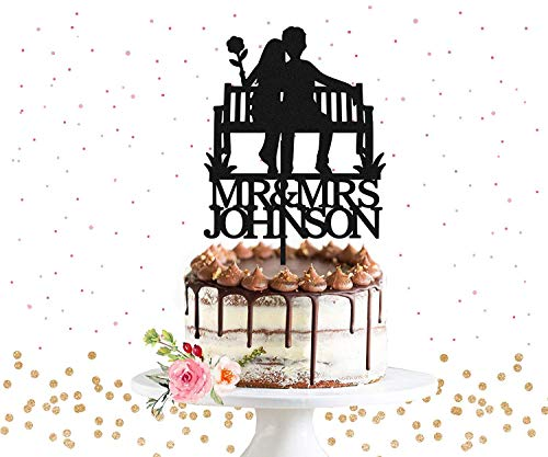(Cheyan Personalized Wedding Cake Topper Customized Silhouette Bench Nature Rustic Park Bench Wedding Cake Wedding Gift Ideas Anniversary Party Decorations)